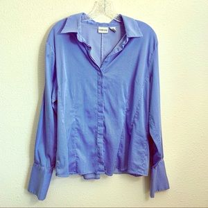 Chico's Blue & White Pinstripe Button Up Blouse 3